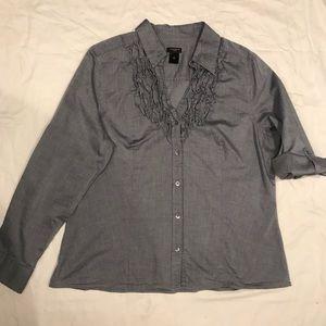 Ann Taylor chambray roll tab shirt 18